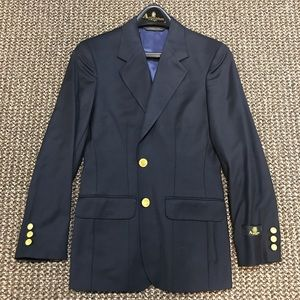 Aquascutum Women's Navy/Gold VTG Trim Fit Blazer